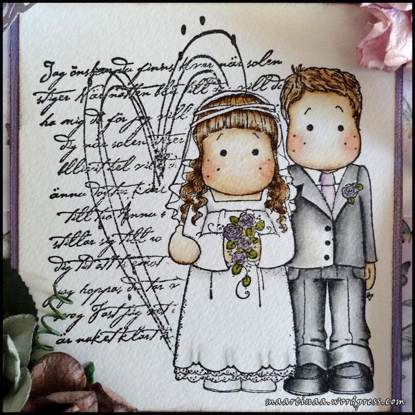 Wedding card, bröllopskort, Bridal Couple Magnolia