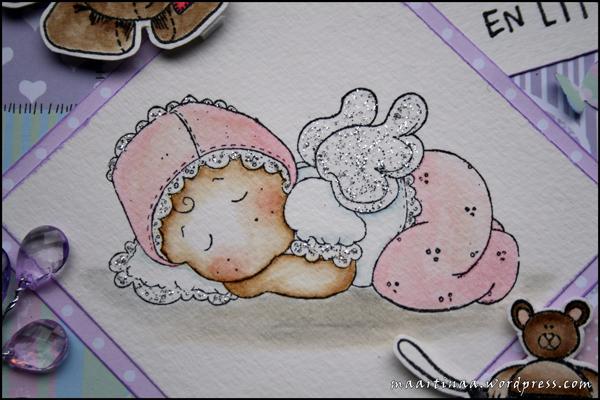 Sleeping baby tingla, baby card, bebiskort