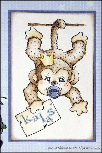 Sally the monkey, Magnolia, inbjudningskort, kalas, barnkalas
