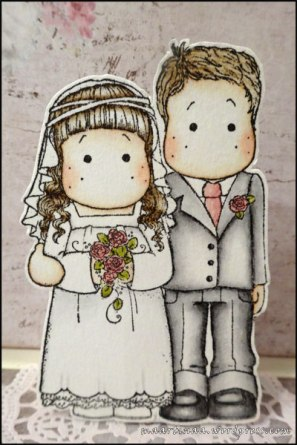 Bridal Couple, Magnolia, Wedding Collection, bröllop, bröllopskort, wedding card, distressed ink, colouring
