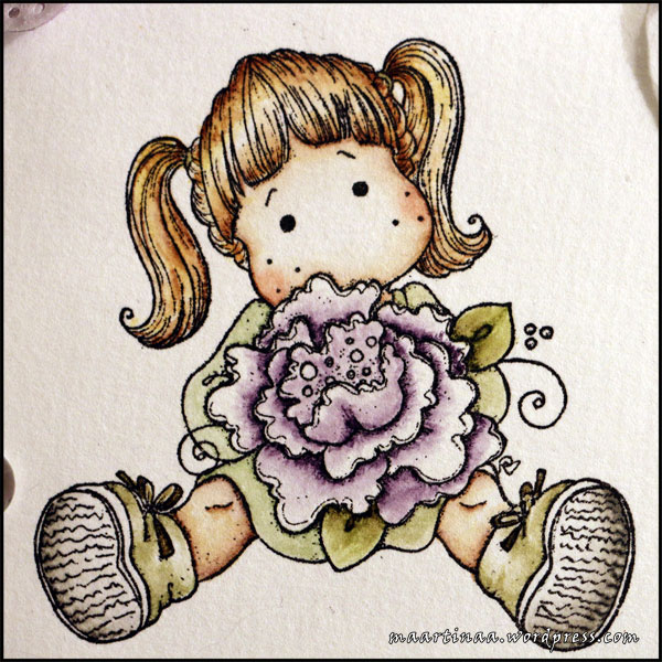 Tilda with peony tails, Magnolia, papercraft, colouring, distressed ink